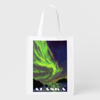 Northern Lights and Orcas Vintage Travel Reusable Grocery Bags