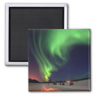 Northern Lights at Bear Lake 2 Inch Square Magnet
