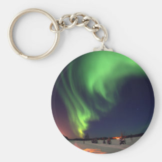 Northern Lights at Bear Lake Basic Round Button Keychain
