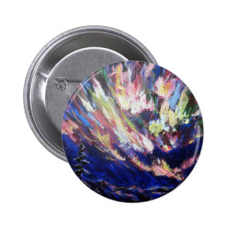 Northern Lights Aurora Abstract Art Painting Button