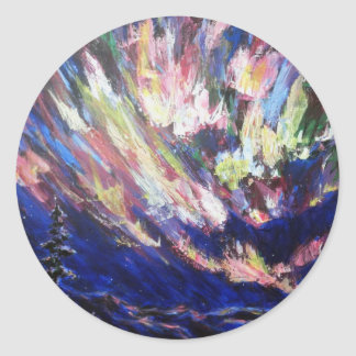 Northern Lights Aurora Abstract Art Painting Classic Round Sticker