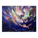 Northern Lights Aurora Abstract Art Painting Postcard