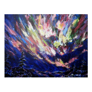 Northern Lights Aurora Abstract Art Painting Postcard