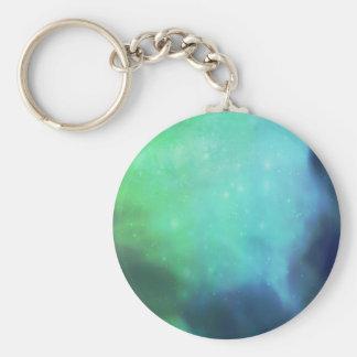 Northern Lights / Aurora Borealis Basic Round Button Keychain