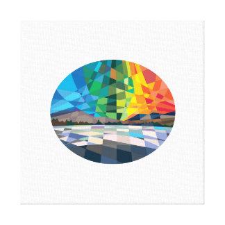 Northern Lights Aurora Borealis Low Polygon Canvas Print