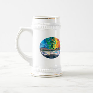 Northern Lights Aurora Borealis Low Polygon Beer Steins