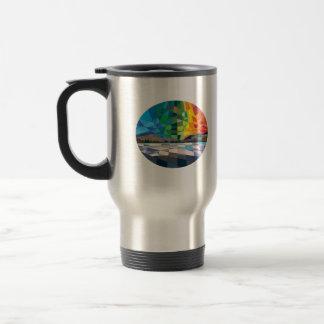 Northern Lights Aurora Borealis Low Polygon Stainless Steel Travel Mug