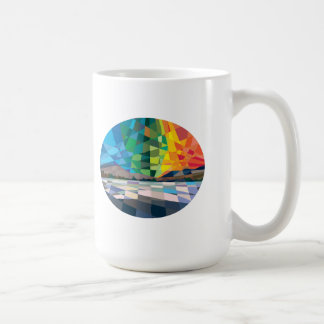 Northern Lights Aurora Borealis Low Polygon Basic White Mug