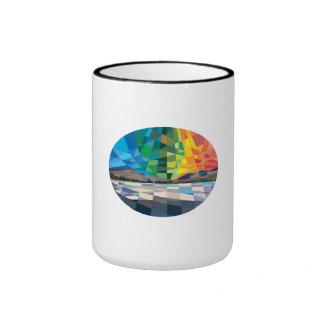 Northern Lights Aurora Borealis Low Polygon Ringer Mug