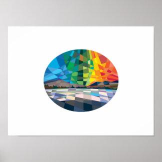 Northern Lights Aurora Borealis Low Polygon Poster