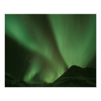 Northern lights, Aurora borealis on foothills of Poster