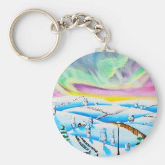 Northern lights aurora borealis painting basic round button keychain
