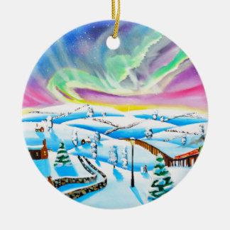Northern lights aurora borealis painting ceramic ornament