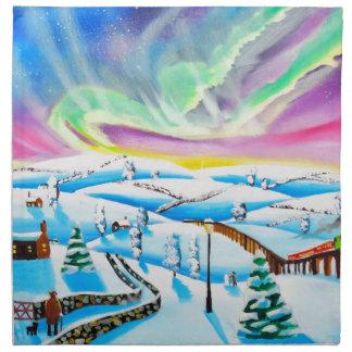 Northern lights aurora borealis painting cloth napkin