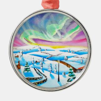 Northern lights aurora borealis painting metal ornament