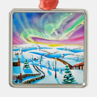 Northern lights aurora borealis painting metal ornament