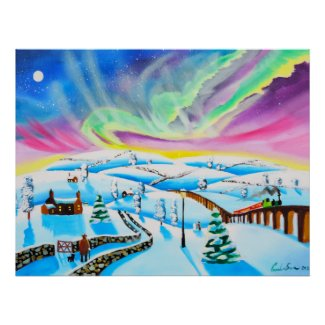 Northern lights aurora borealis painting poster