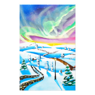Northern lights aurora borealis painting stationery