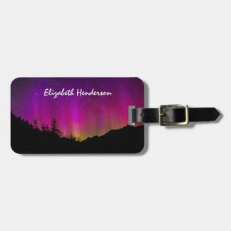 Northern Lights Aurora Borealis Starry Night Sky Bag Tag