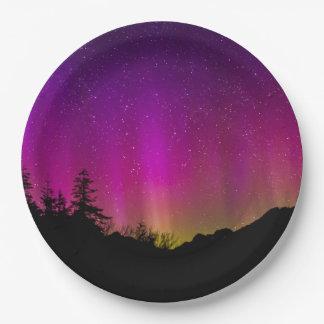 Northern Lights Aurora Borealis Starry Night Sky Paper Plate