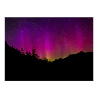 Northern Lights Aurora Borealis Starry Night Sky Poster