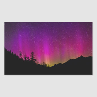 Northern Lights Aurora Borealis Starry Night Sky Rectangular Sticker
