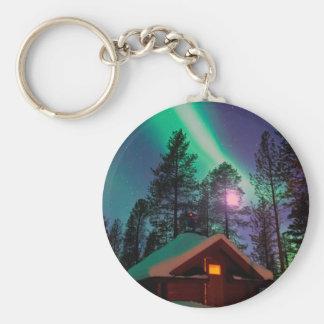 Northern Lights Basic Round Button Keychain