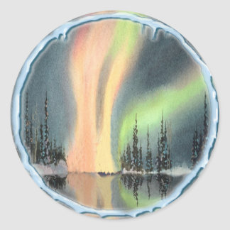 NORTHERN LIGHTS by SHARON SHARPE Classic Round Sticker