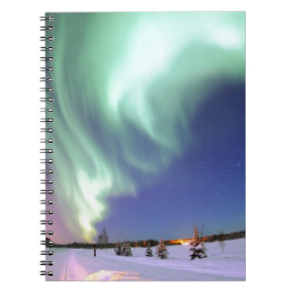 Northern Lights Chic Ribbon Of Lights Jade Glow Note Book
