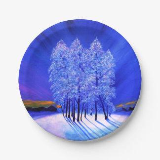 Northern Lights Christmas Paper Plate