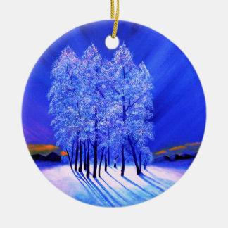 Northern Lights Christmas Snow Trees Ceramic Ornament