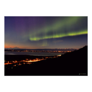 Northern Lights Dancing in front of Denali Poster