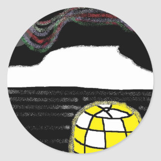 northern lights igloo classic round sticker