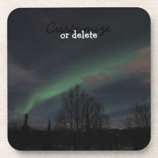 Northern Lights in Boreal Forest; Customizable Drink Coaster