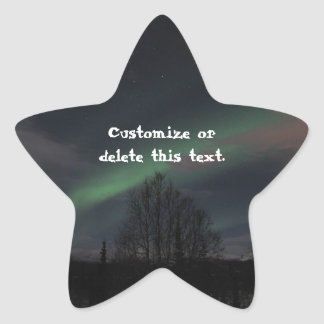 Northern Lights in Boreal Forest; Customizable Star Sticker