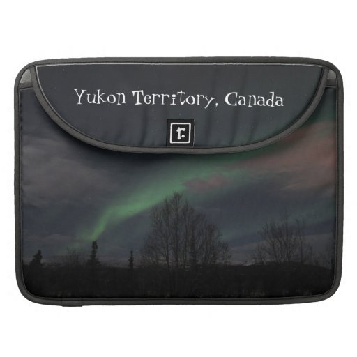 Northern Lights in Boreal Forest; Yukon Souvenir MacBook Pro Sleeves