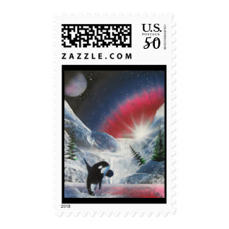 Northern Lights jumping killer whale Postage