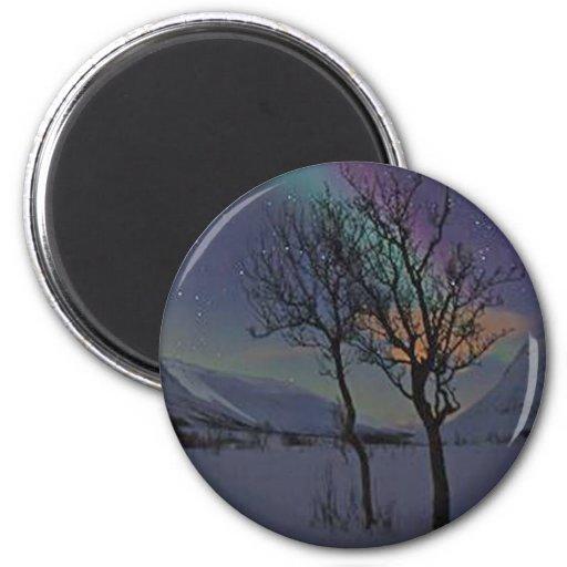 NORTHERN LIGHTS Landscape Show Fridge Magnet