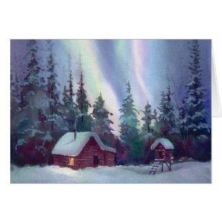NORTHERN LIGHTS & LOG CABIN by SHARON SHARPE Card