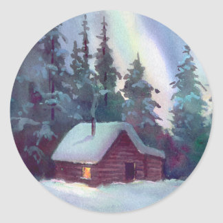 NORTHERN LIGHTS & LOG CABIN by SHARON SHARPE Classic Round Sticker