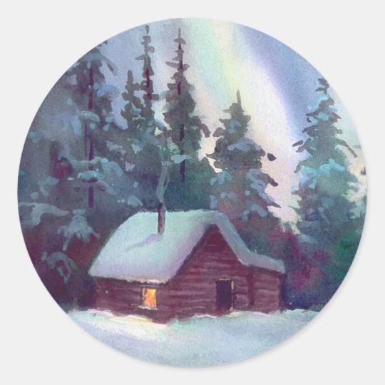 NORTHERN LIGHTS & LOG CABIN by SHARON SHARPE Classic Round Sticker