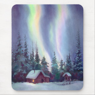 NORTHERN LIGHTS & LOG CABIN by SHARON SHARPE Mouse Pad