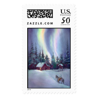 NORTHERN LIGHTS & LOG CABIN by SHARON SHARPE Postage