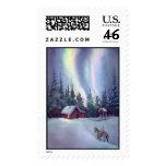 NORTHERN LIGHTS & LOG CABIN by SHARON SHARPE Postage Stamp