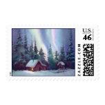 NORTHERN LIGHTS & LOG CABIN by SHARON SHARPE Stamp