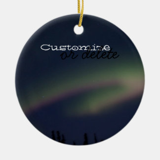 Northern Lights Loop; Customizable Double-Sided Ceramic Round Christmas Ornament