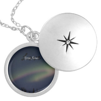 Northern Lights Loop; Customizable Silver Plated Necklace