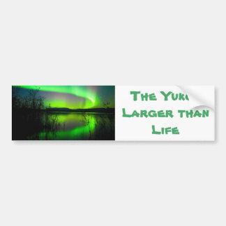 Northern lights mirrored on lake bumper sticker