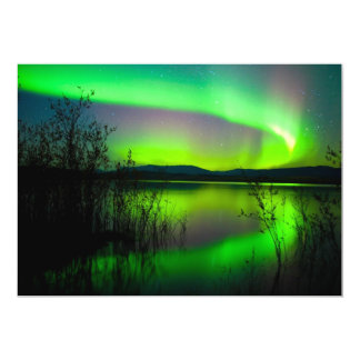 Northern lights mirrored on lake card