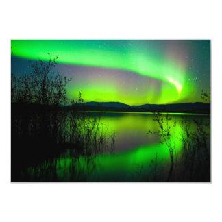 Northern lights mirrored on lake card